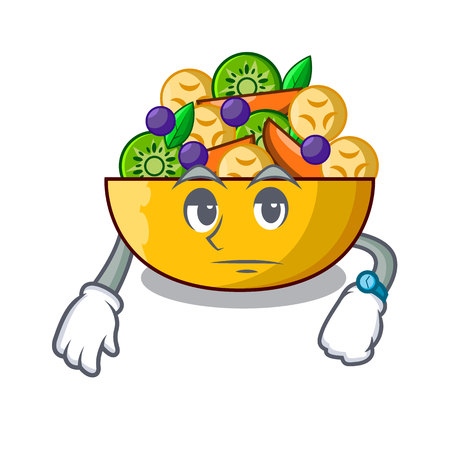 Waiting dessert of fruits salad on cartoon vector illustration Ilustrace