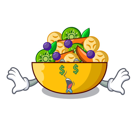 Money eye dessert of fruits salad on cartoon vector illustration Ilustrace