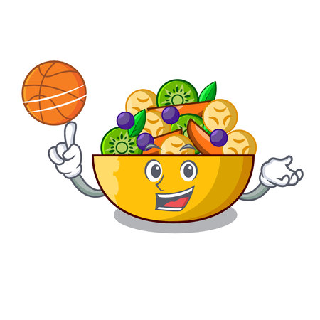 With basketball fruit salad in glass bowl cartoon vector illustration