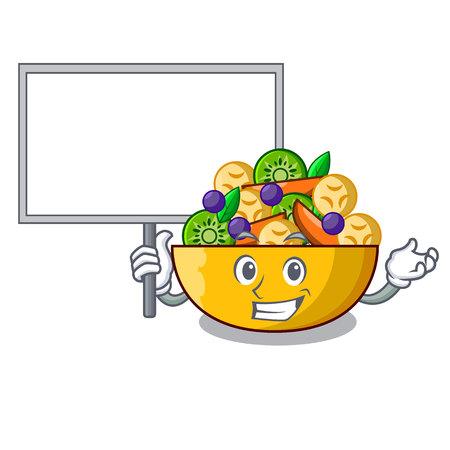 Bring board fruit salad in glass bowl cartoon vector illustration