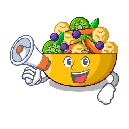 With megaphone fruit salad in glass bowl cartoon vector illustration
