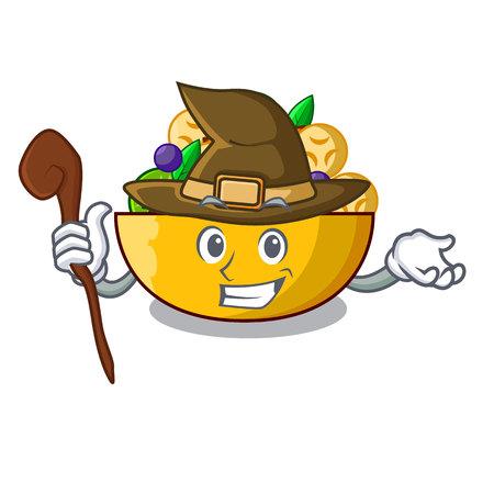 Witch mascot diet fresh tasty fruit salad Reklamní fotografie - 107631253
