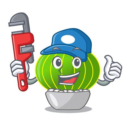 Plumber dessert of fruits salad on cartoon vector illustration