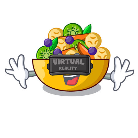 Virtual reality mascot diet fresh tasty fruit salad vector illustration