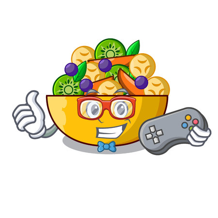 Gamer mascot diet fresh tasty fruit salad vector illustration