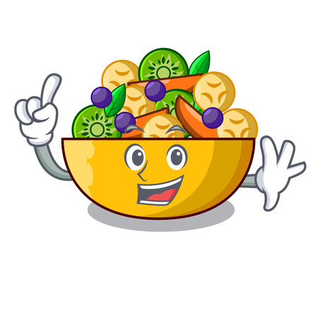Finger dessert of fruits salad on cartoon vector illustration