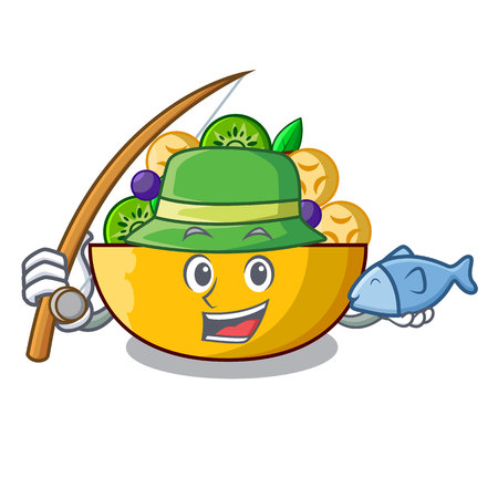 Fishing mascot diet fresh tasty fruit salad vector illustration Ilustrace