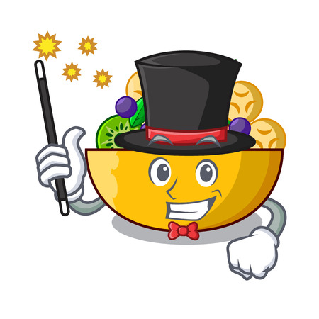 Magician dessert of fruits salad on cartoon vector illustration Ilustrace