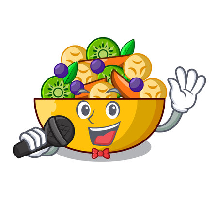Singing mascot diet fresh tasty fruit salad vector illustration