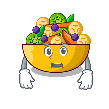 Afraid mascot diet fresh tasty fruit salad vector illustration Ilustração