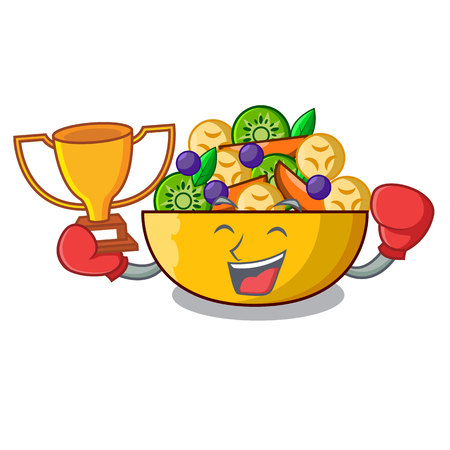Boxing winner dessert of fruits salad on cartoon vector illustration
