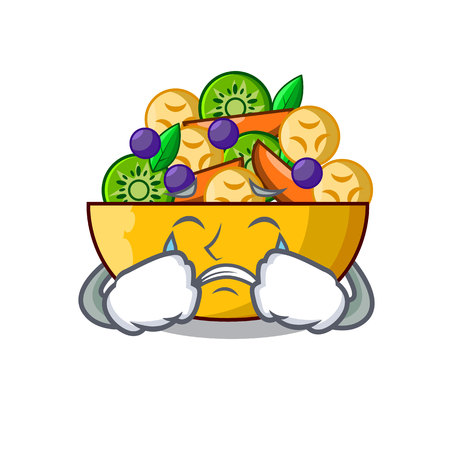 Crying mascot diet fresh tasty fruit salad vector illustration Ilustração