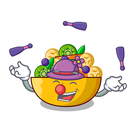 Juggling dessert of fruits salad on cartoon vector illustration