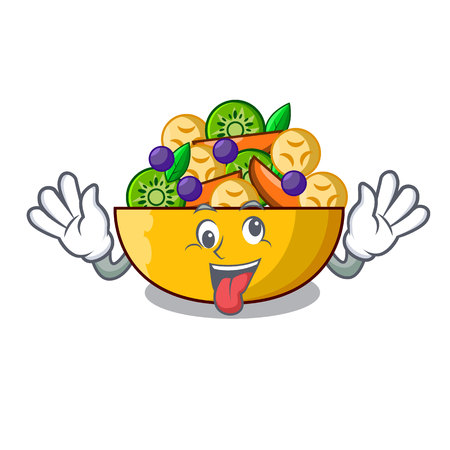 Crazy dessert of fruits salad on cartoon vector illustration