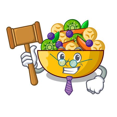 Judge dessert of fruits salad on cartoon vector illustration