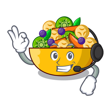 With headphone dessert of fruits salad on cartoon vector illustration Ilustrace