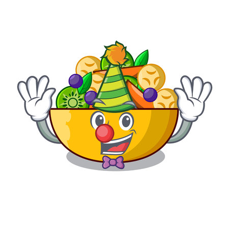 Clown dessert of fruits salad on cartoon vector illustration Ilustração