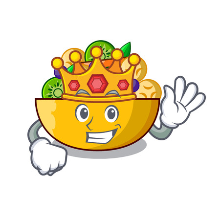 King dessert of fruits salad on cartoon vector illustration Ilustração