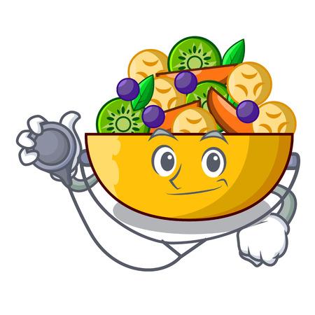 Doctor fruit salad in glass bowl cartoon vector illustration Ilustrace