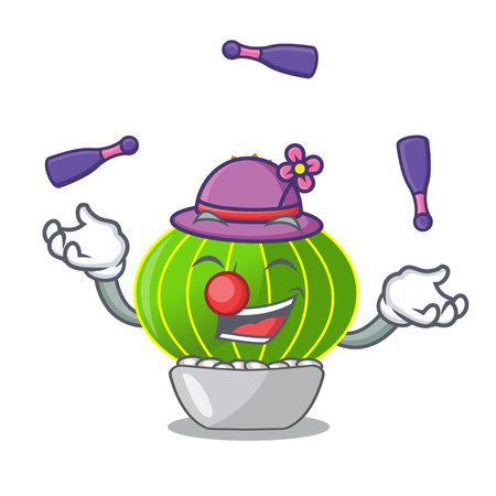 Juggling cartoon plants notocactus in the desert garden vector illustration Stock Illustratie