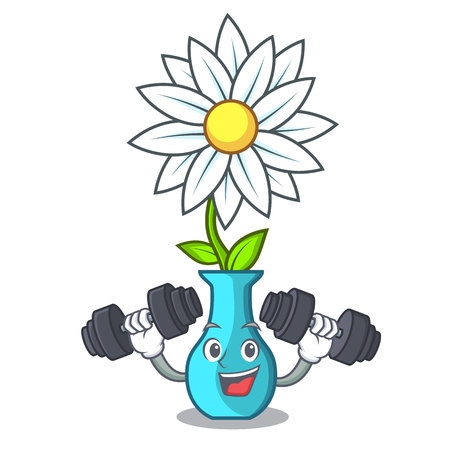 Fitness vase with bouquet of beautiful cartoon vector illustration Vettoriali