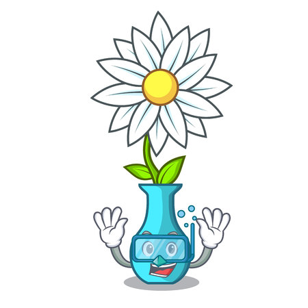 Diving character cartoon glass vase with flowers vector illustration Çizim