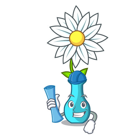 Architect character cartoon glass vase with flowers vector illustration