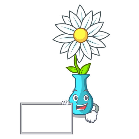 With board vase with bouquet of beautiful cartoon vector illustration
