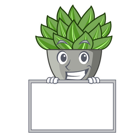 Grinning with board character cartoon pot plant echeveria cactus vector illustration