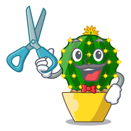 Barber mammillaria cactus planted in a cartoon pot vector illustration Illustration