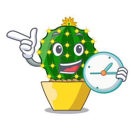 With clock character mammillaria cactus at cactus farm vector illustration Illustration