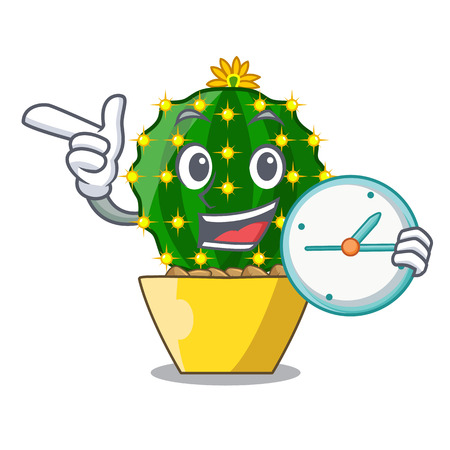 With clock character mammillaria cactus at cactus farm vector illustration Vectores