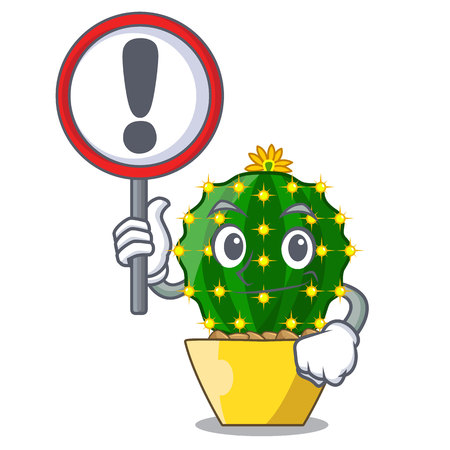 With sign mammillaria cactus planted in a cartoon pot vector illustration