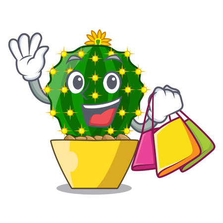 Shopping character mammillaria cactus at cactus farm vector illustration