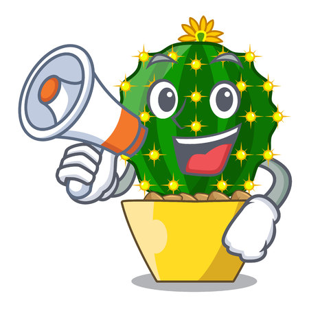 With megaphone mammillaria cactus planted in a cartoon pot vector illustration