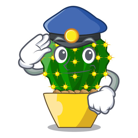 Police mammillaria cactus planted in a cartoon pot vector illustration 向量圖像
