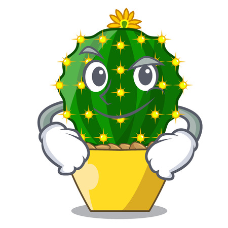 Smirking character mammillaria cactus at cactus farm vector illustration