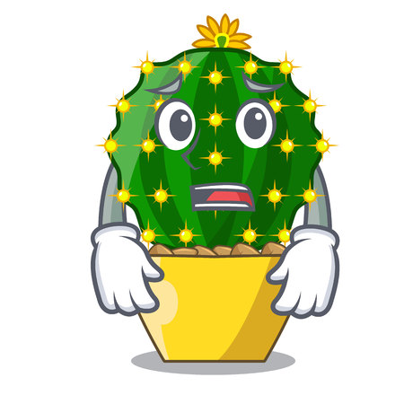 Afraid mammillaria compressa cactus isolated on the cartoon vector illustration Ilustração