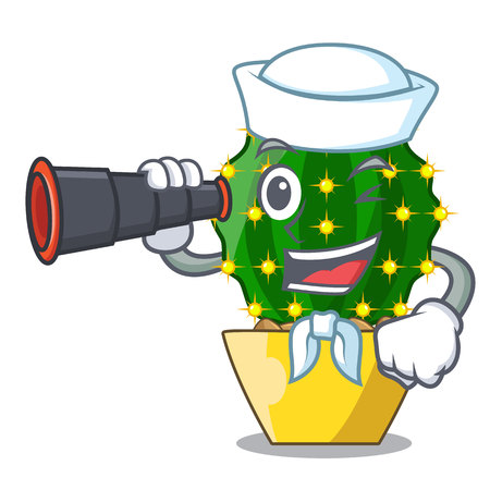 Sailor with binocular mammillaria compressa cactus isolated on the cartoon vector illustration