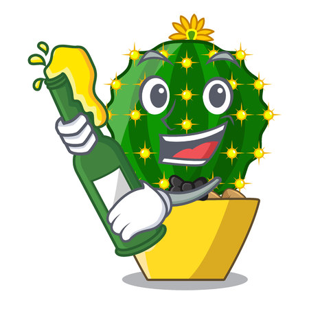 With beer cartoon mammillaria humboldtii cactus at park cactus vector ilustration