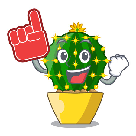 Foam finger cartoon mammillaria humboldtii cactus at park cactus vector ilustration