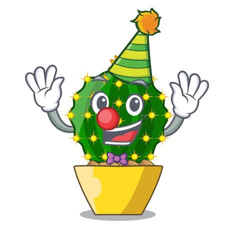 Clown cartoon mammillaria humboldtii cactus at park cactus vector ilustration