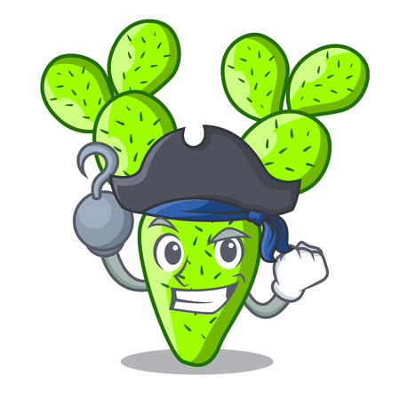 Pirate opuntia cactus isolated on character cartoon vector illustration