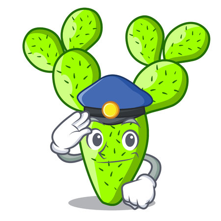 Police opuntia cactus isolated on character cartoon vector illustration 向量圖像