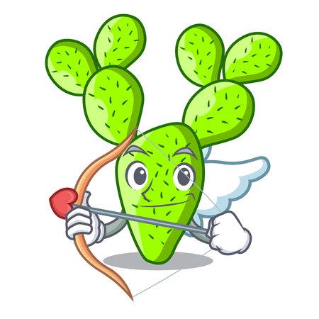 Cupid opuntia cactus isolated on character cartoon vector illustration Vektorové ilustrace