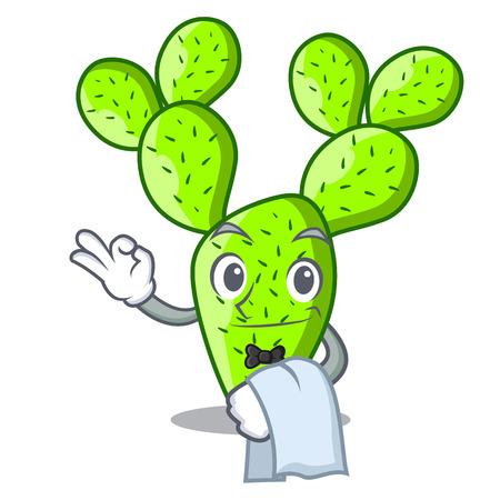 Waiter beautiful opuntia cactus in the garden vector illustration Vektorové ilustrace