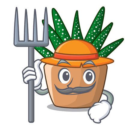 Farmer mini zebra cactus on cartoon pot vector illustration