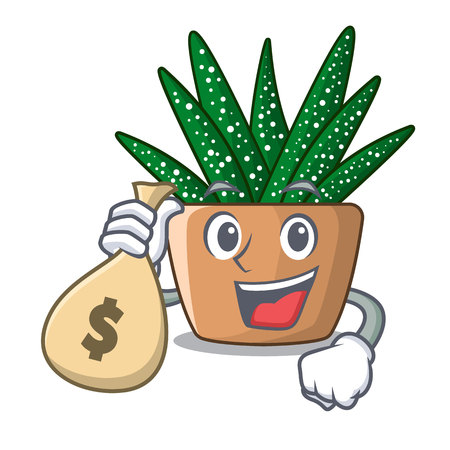 With money bag mini zebra cactus on cartoon pot vector illustration