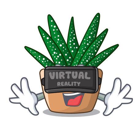 Virtual reality cartoon zebra cactus blooming in garden vector illustration