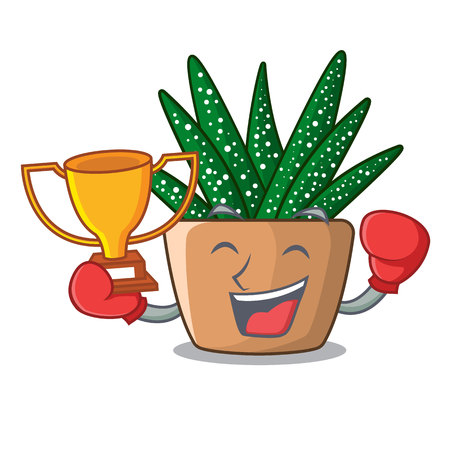 Boxing winner cartoon zebra cactus plant at park vector illustration Çizim